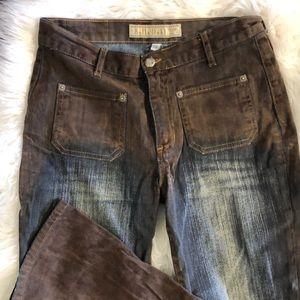 Ombré Suede & Denim Jeans